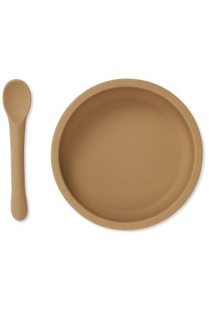 Bowl & spoon silicone set almond