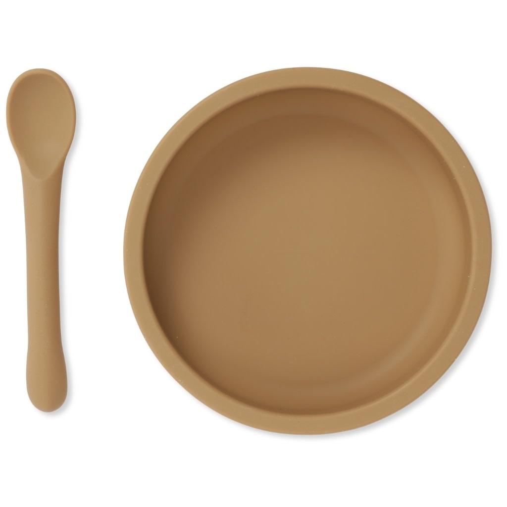 Bowl & spoon silicone set almond-1