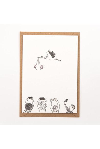 Kaartje 'stork with baby'