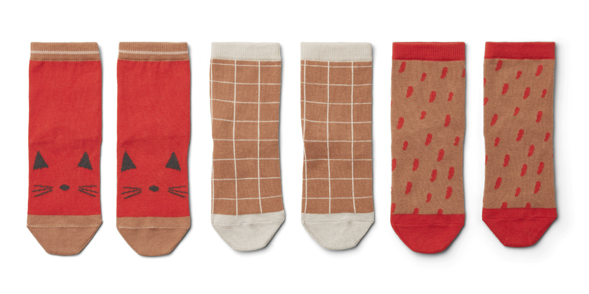 Silas coton socks apple red multi mix kids - 3 pack-1