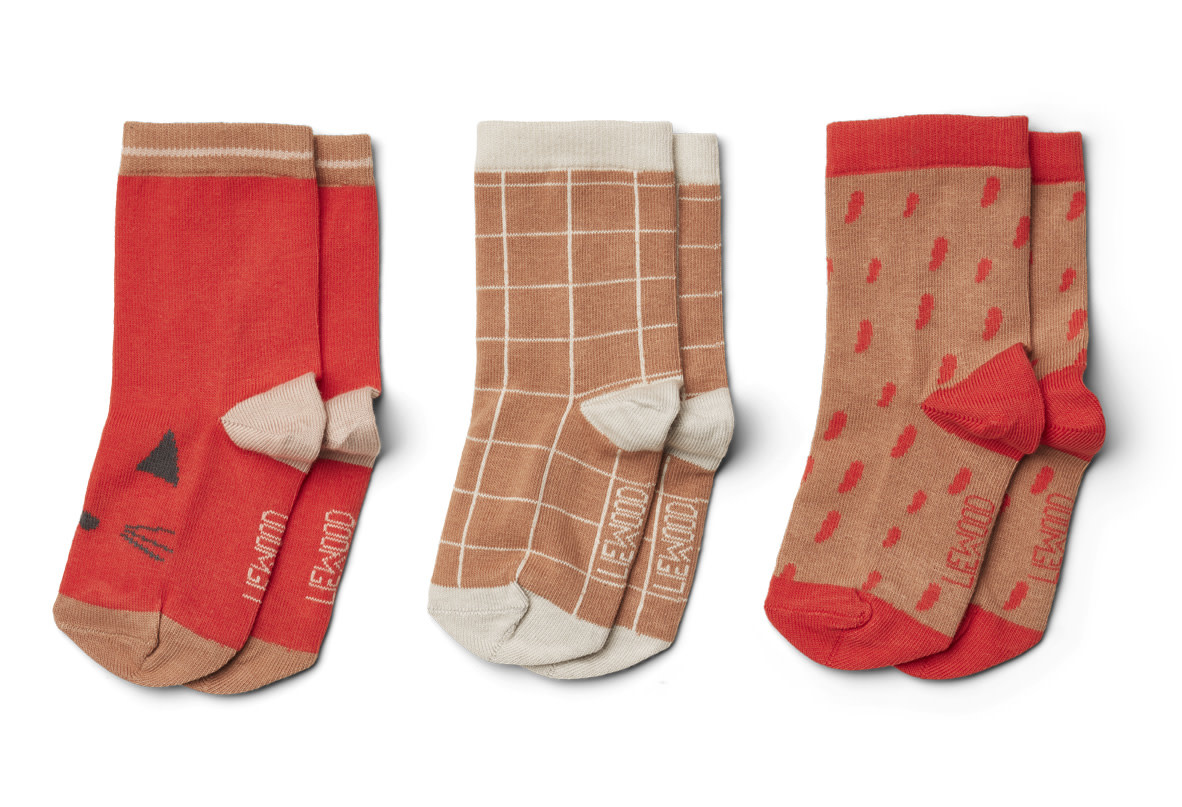 Silas coton socks apple red multi mix kids - 3 pack-2