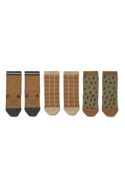 Silas coton socks golden caramel multi mix - 3 pack