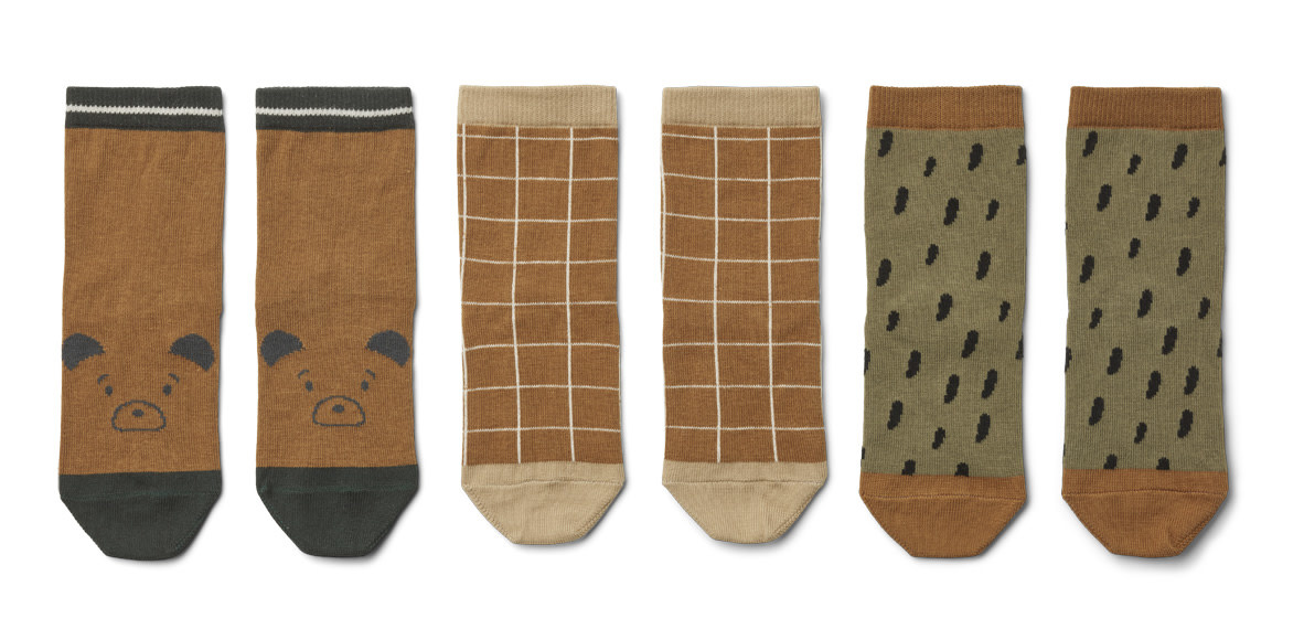 Silas coton socks golden caramel multi mix - 3 pack-1