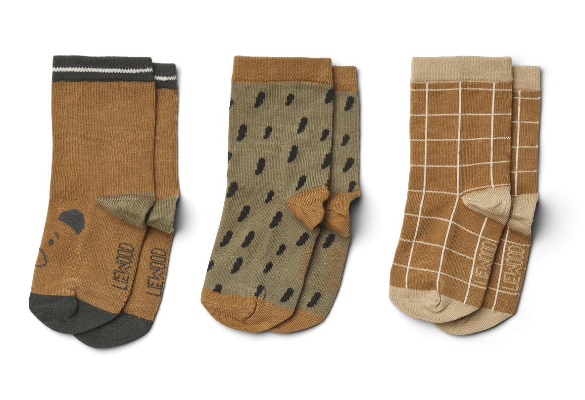 Silas coton socks golden caramel multi mix - 3 pack-2