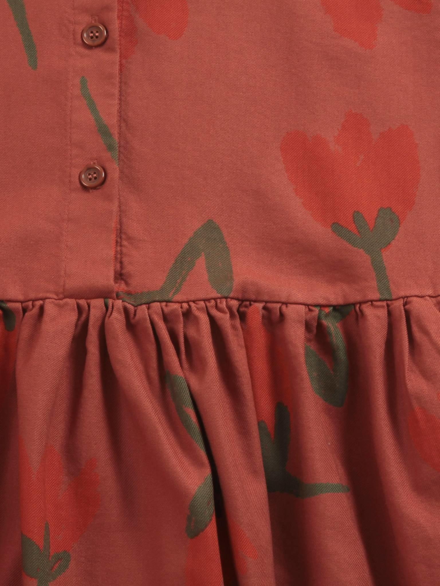 Big flowers woven buttoned dress-2