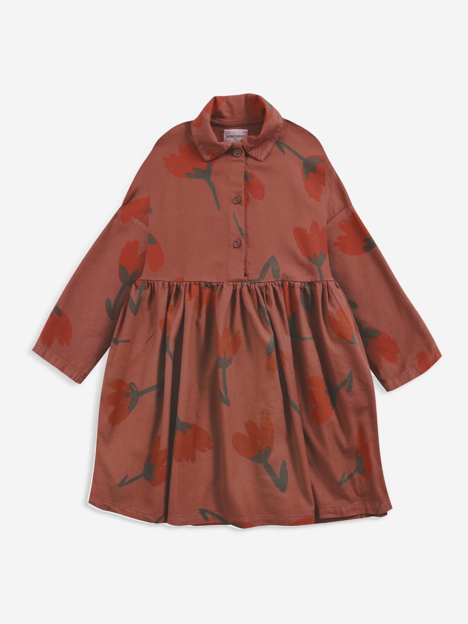 Big flowers woven buttoned dress-1