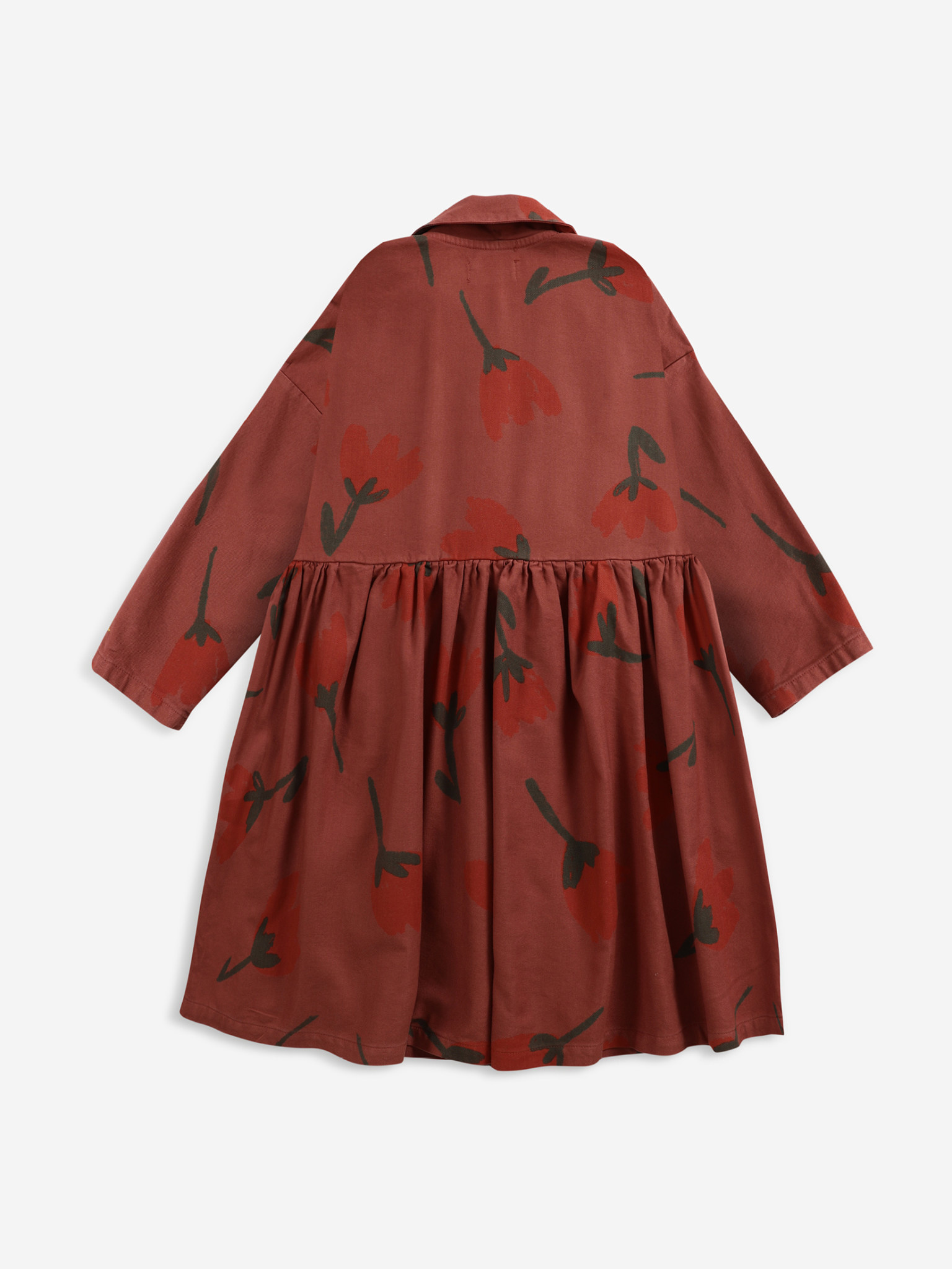 Big flowers woven buttoned dress-3