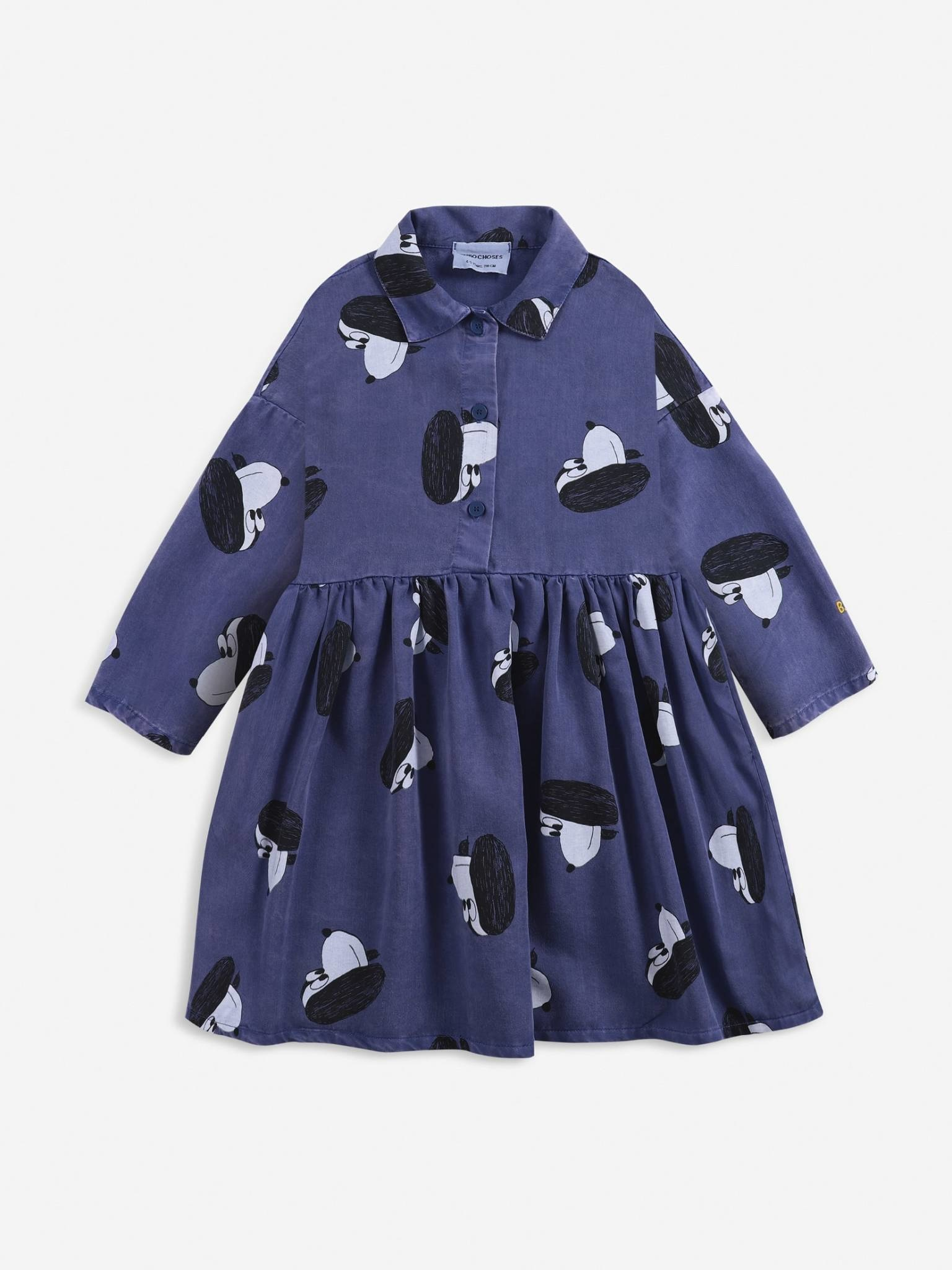 Doggie all over woven buttoned dress-1