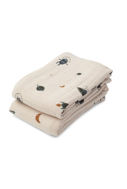 Lewis muslin cloth space sandy mix - 2 pack