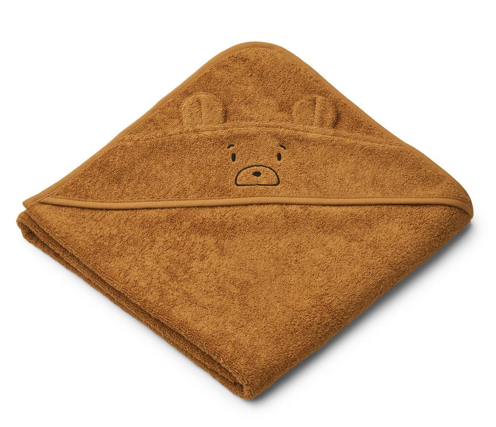 Augusta hooded towel mr bear golden caramel-1