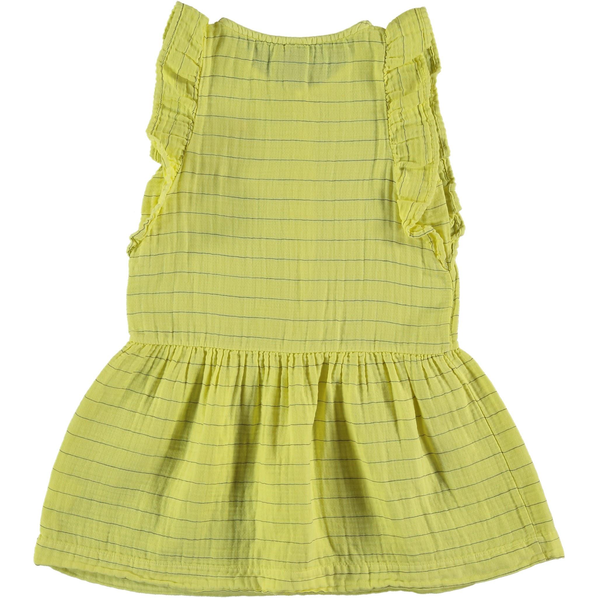 Dress frill stripes dot sunshine yellow kids-4