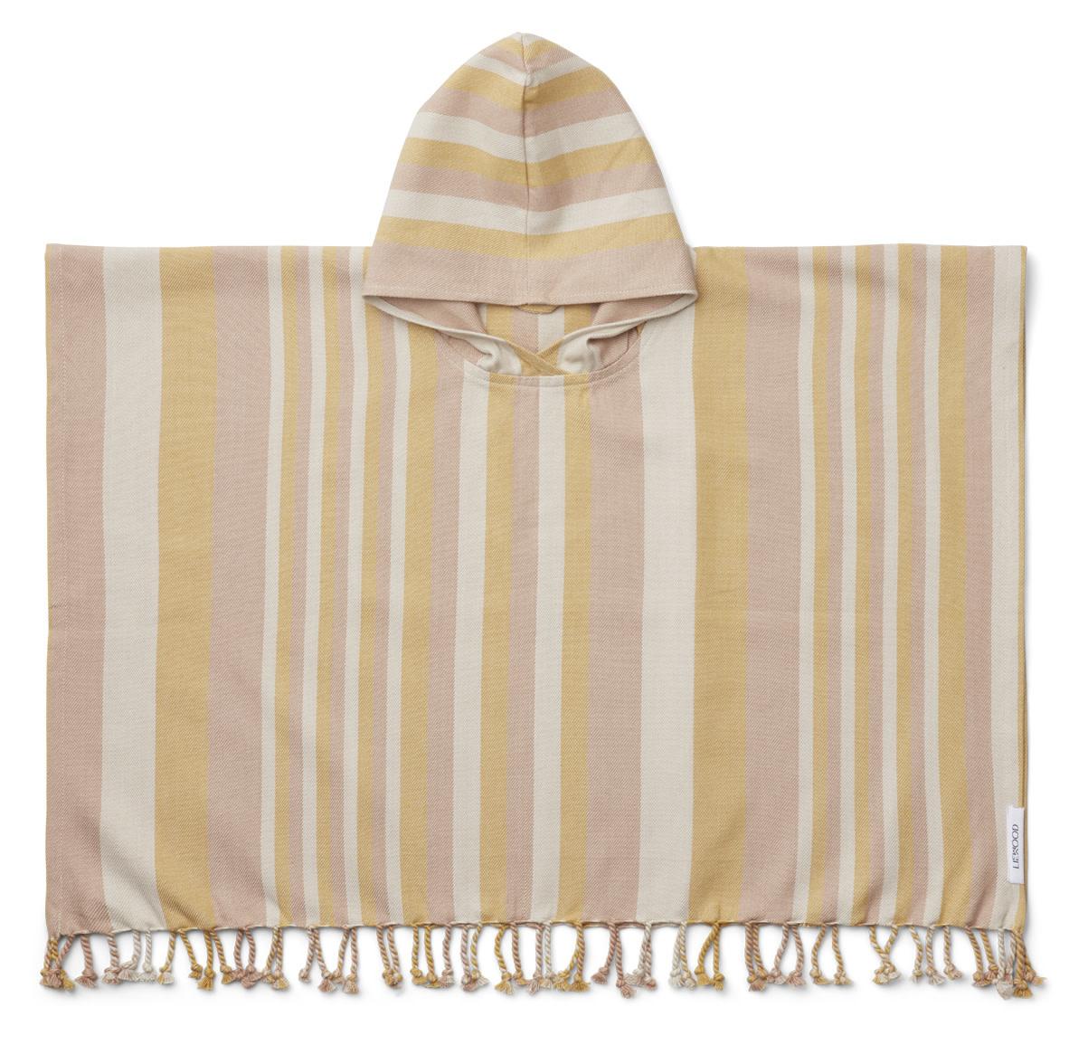 Roomie poncho stripe peach/sandy/yellow mellow-2