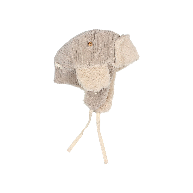 Knit velour hat stone-2