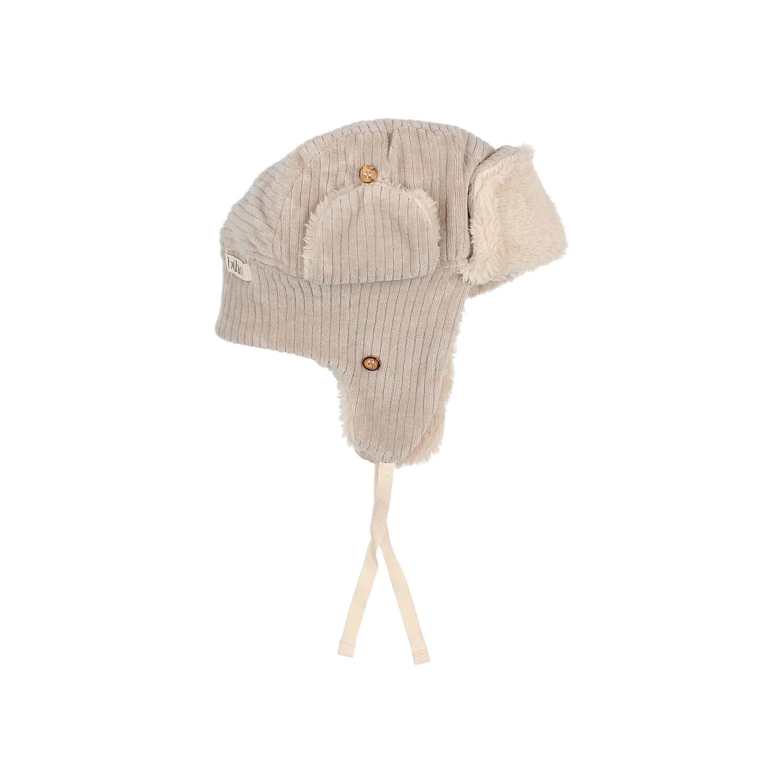 Knit velour hat stone-3