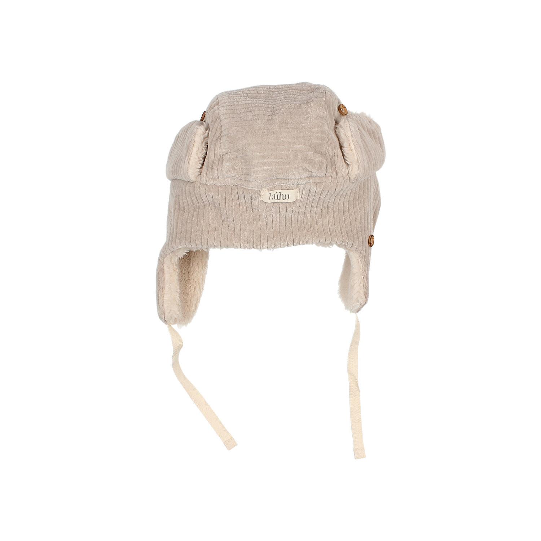 Knit velour hat stone-4