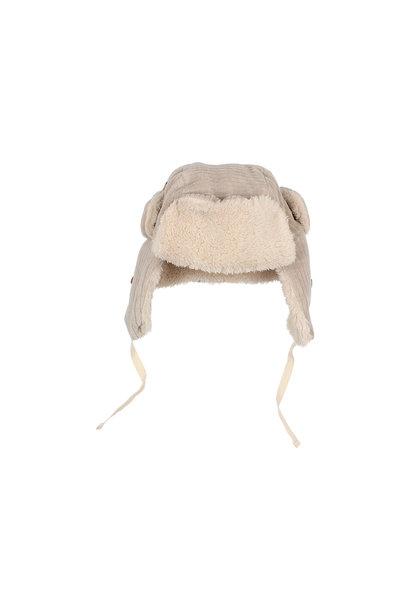 Knit velour hat stone