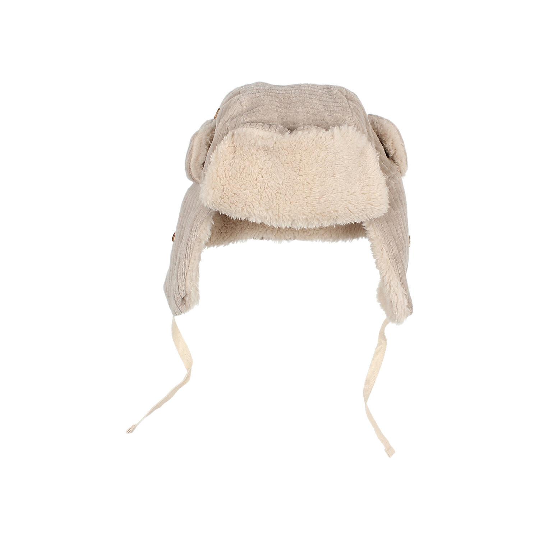 Knit velour hat stone-1