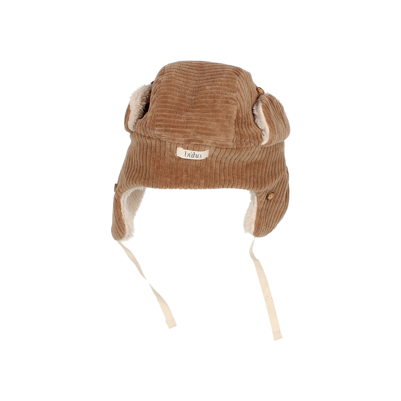 Knit velour hat muscade-2