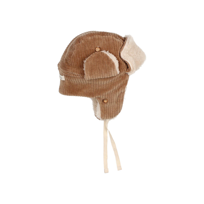Knit velour hat muscade-3