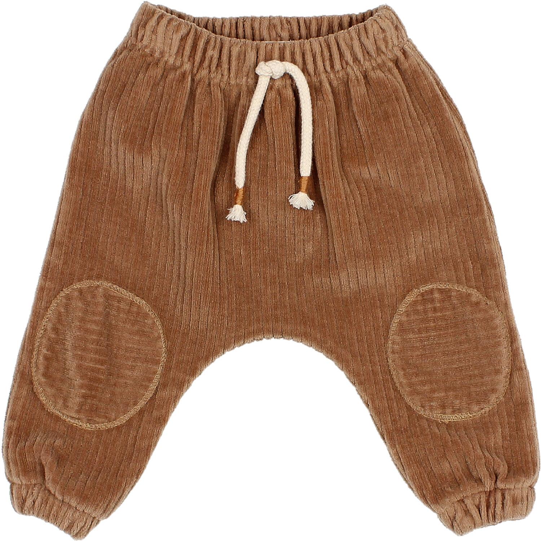 Knit velour pants muscade-1