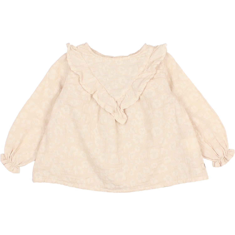 Floral jacquard blouse stone-1