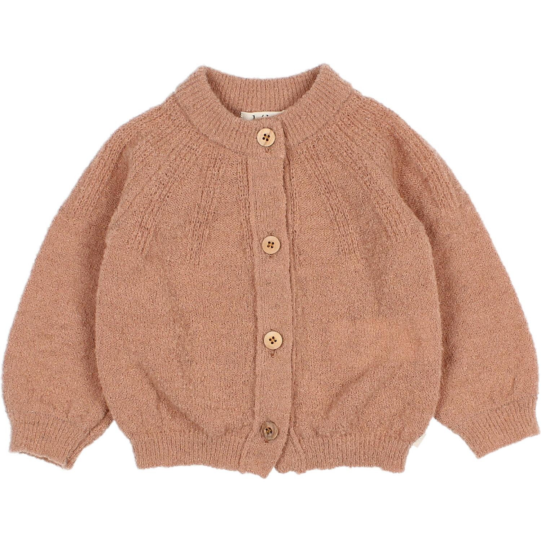 Fine knit cardigan antic rose-1