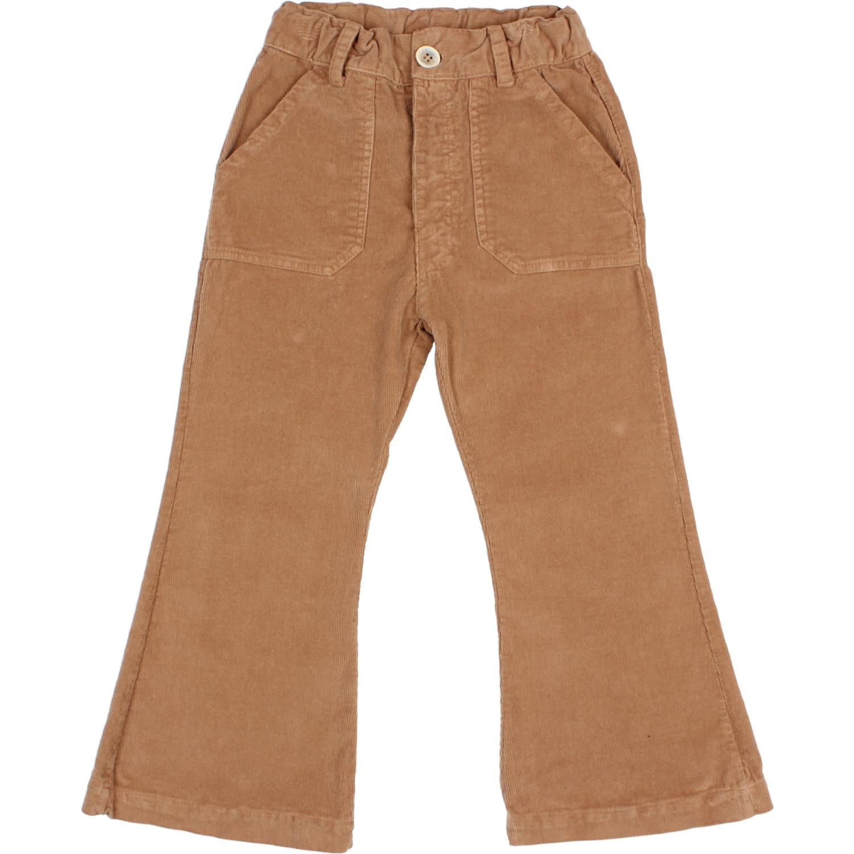 Flared velvet pants muscade-1