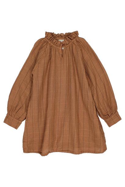 Check lurex dress muscade