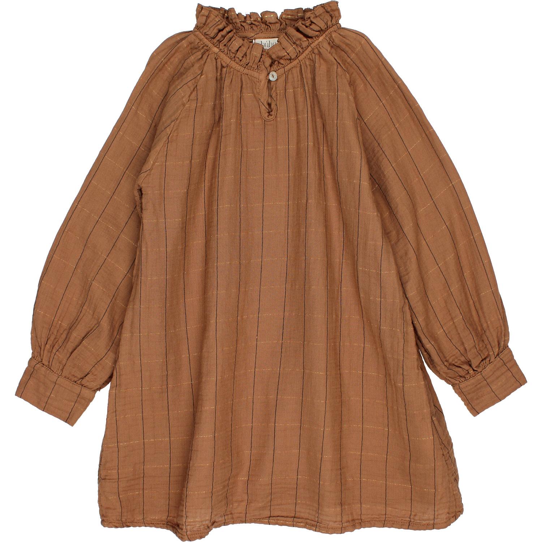 Check lurex dress muscade-1