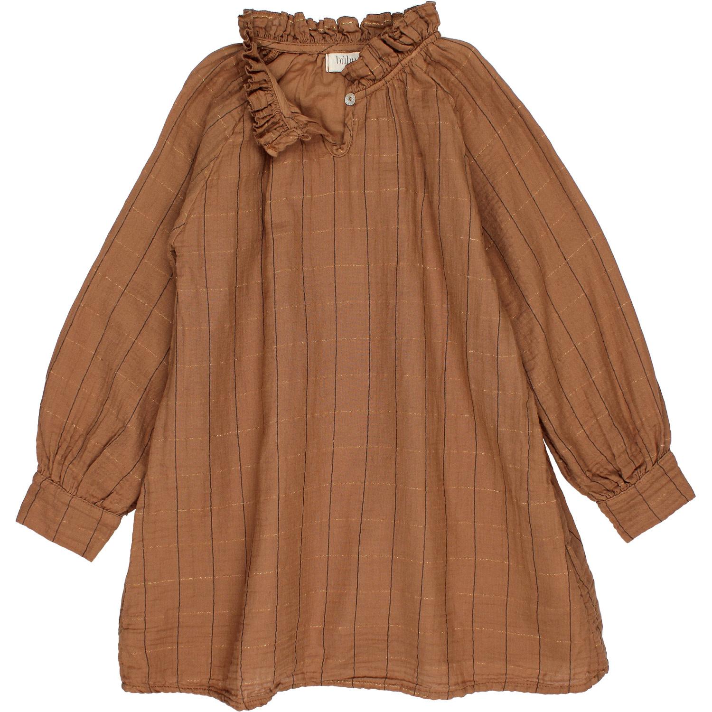 Check lurex dress muscade-2