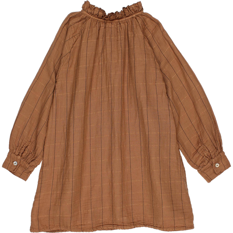 Check lurex dress muscade-3