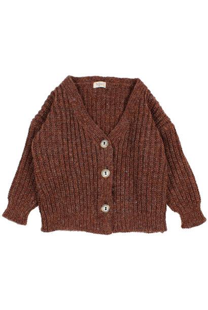 Ribbed knit cardigan henna