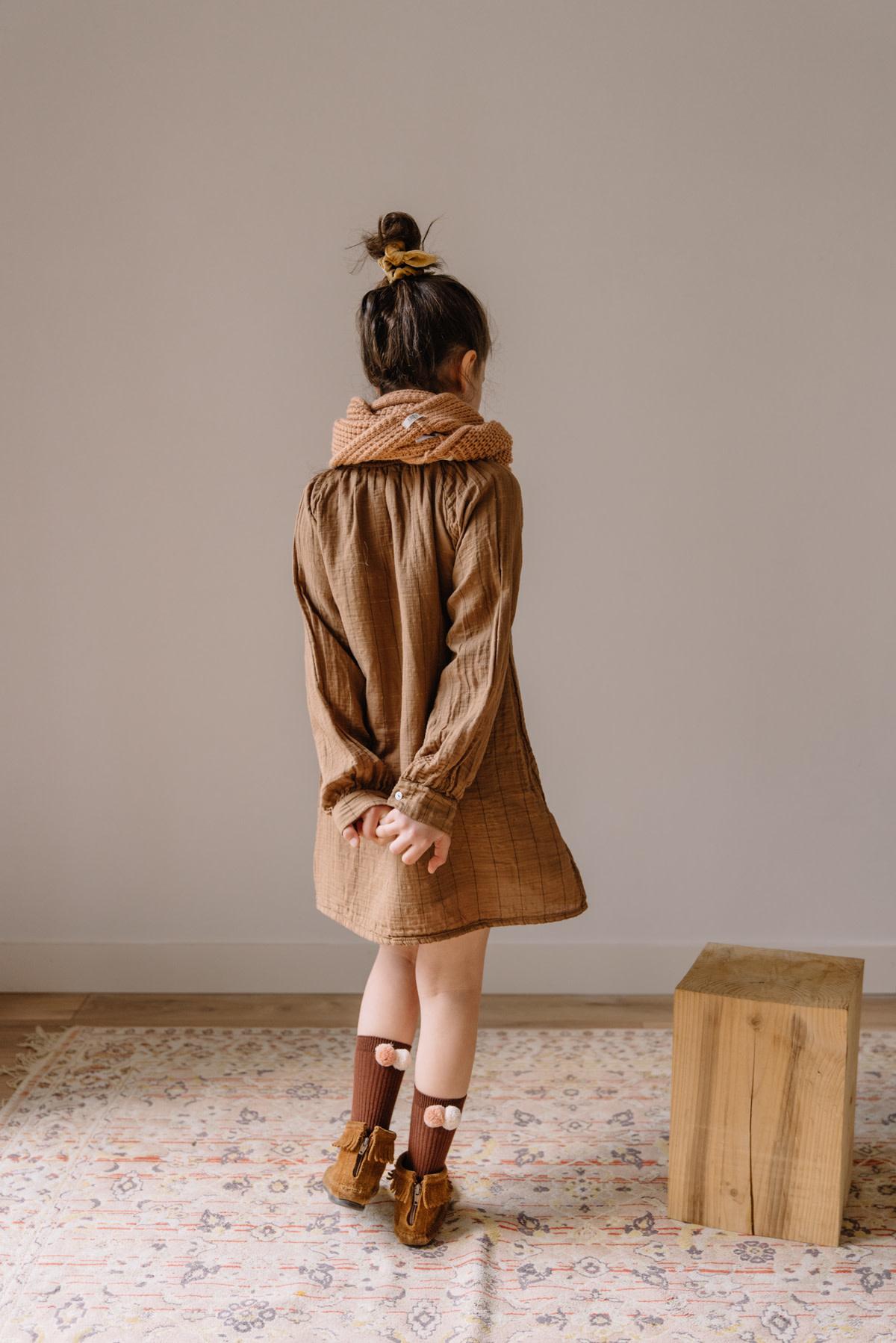 Check lurex dress muscade-5