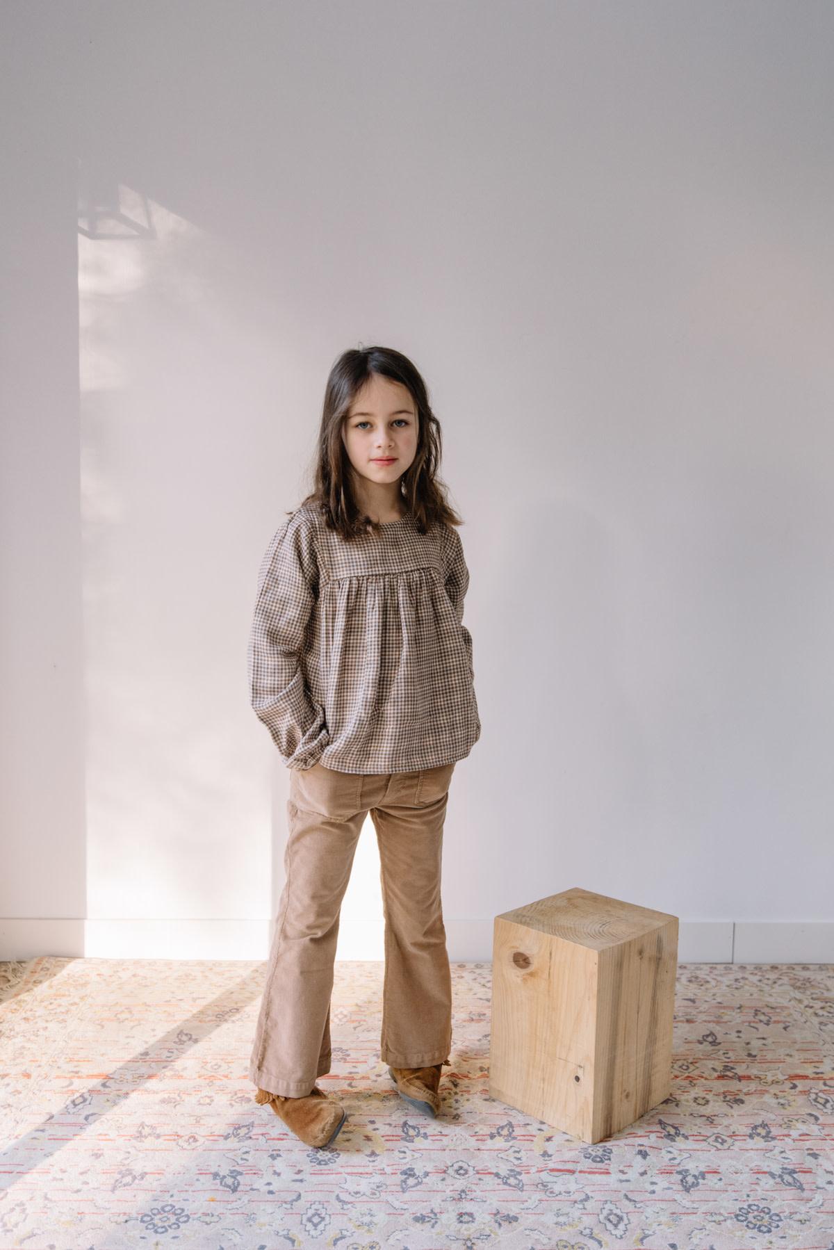 Flared velvet pants muscade-3