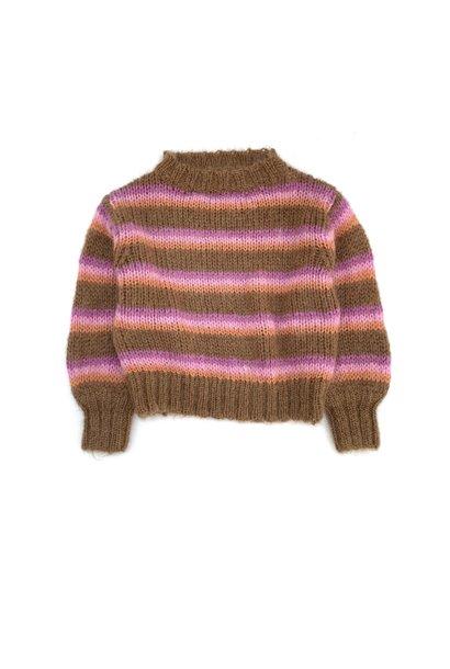Striped sweater brown stripe