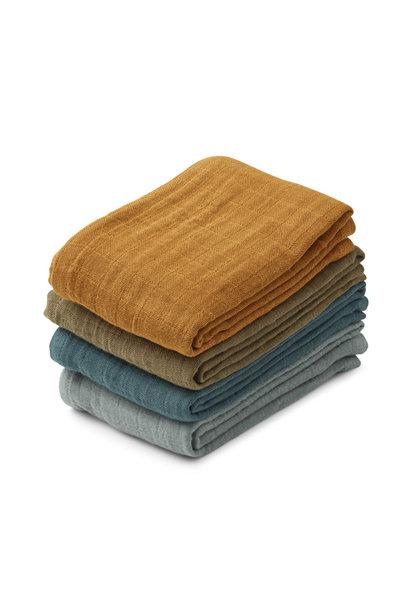 Leon muslin cloth whale blue mix - 4 pack
