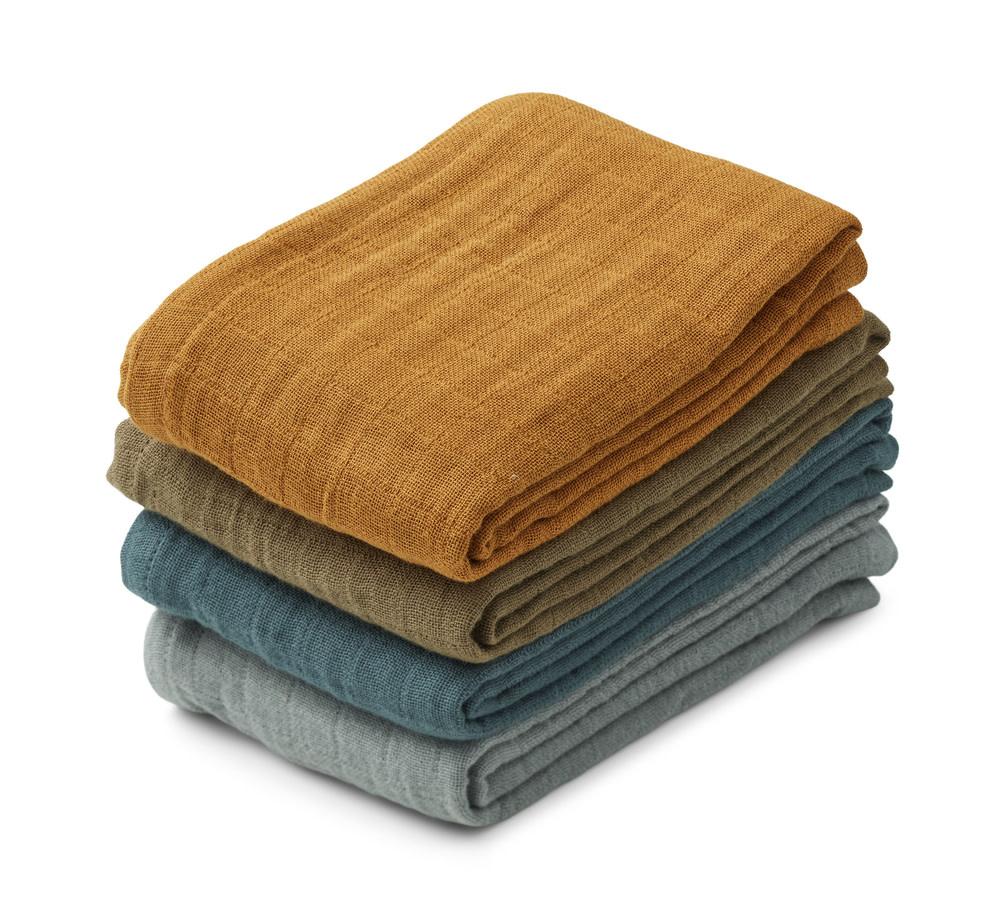 Leon muslin cloth whale blue mix - 4 pack-1