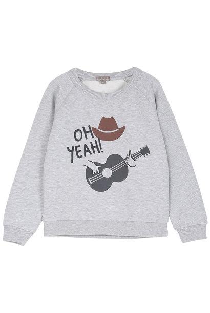 Sweatshirt gris chine cowboy