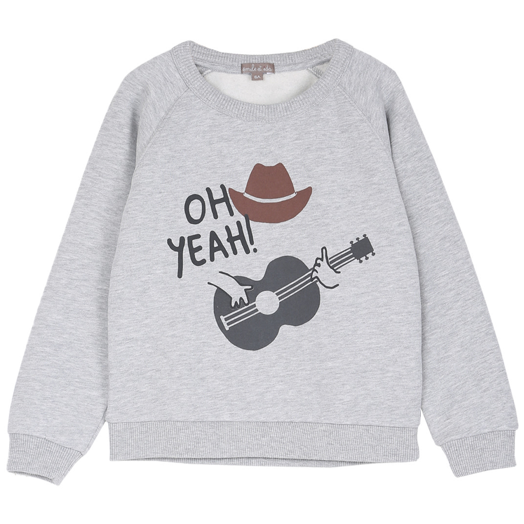 Sweatshirt gris chine cowboy-1