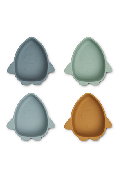 Iggy silicone bowls space blue multi mix - 4 pack