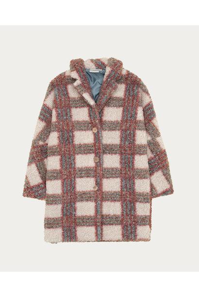 Checked teddy coat