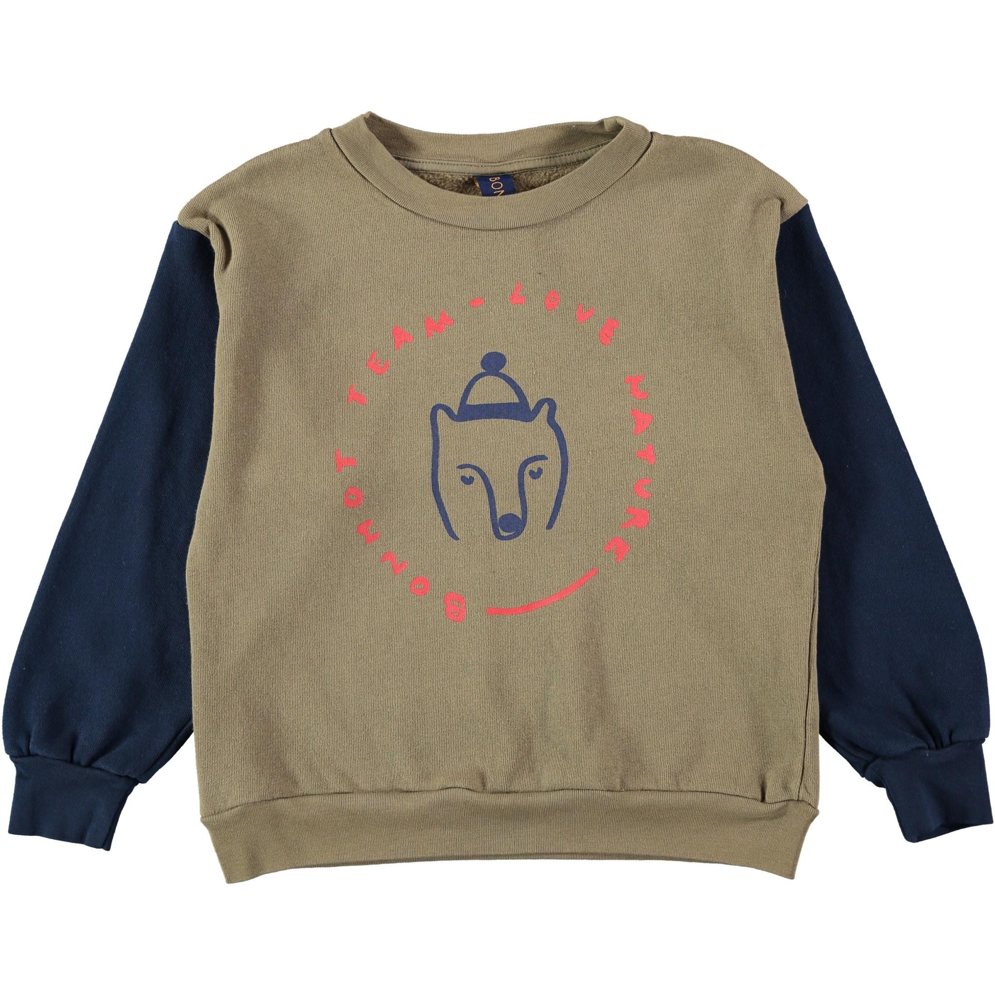 Sweatshirt bear taupe baby-1