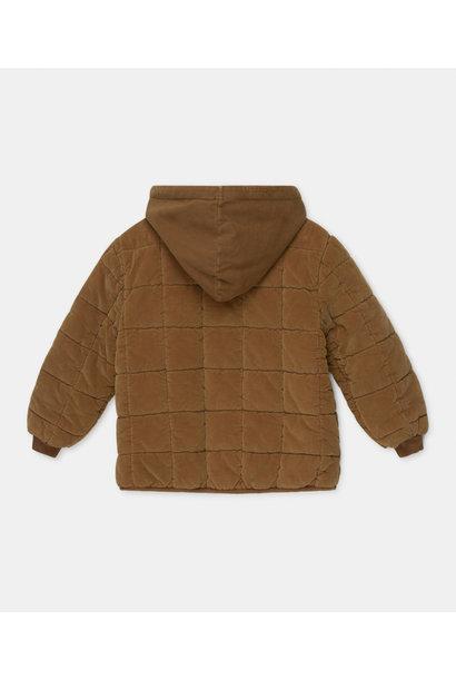 Corduroy padded coat caramel