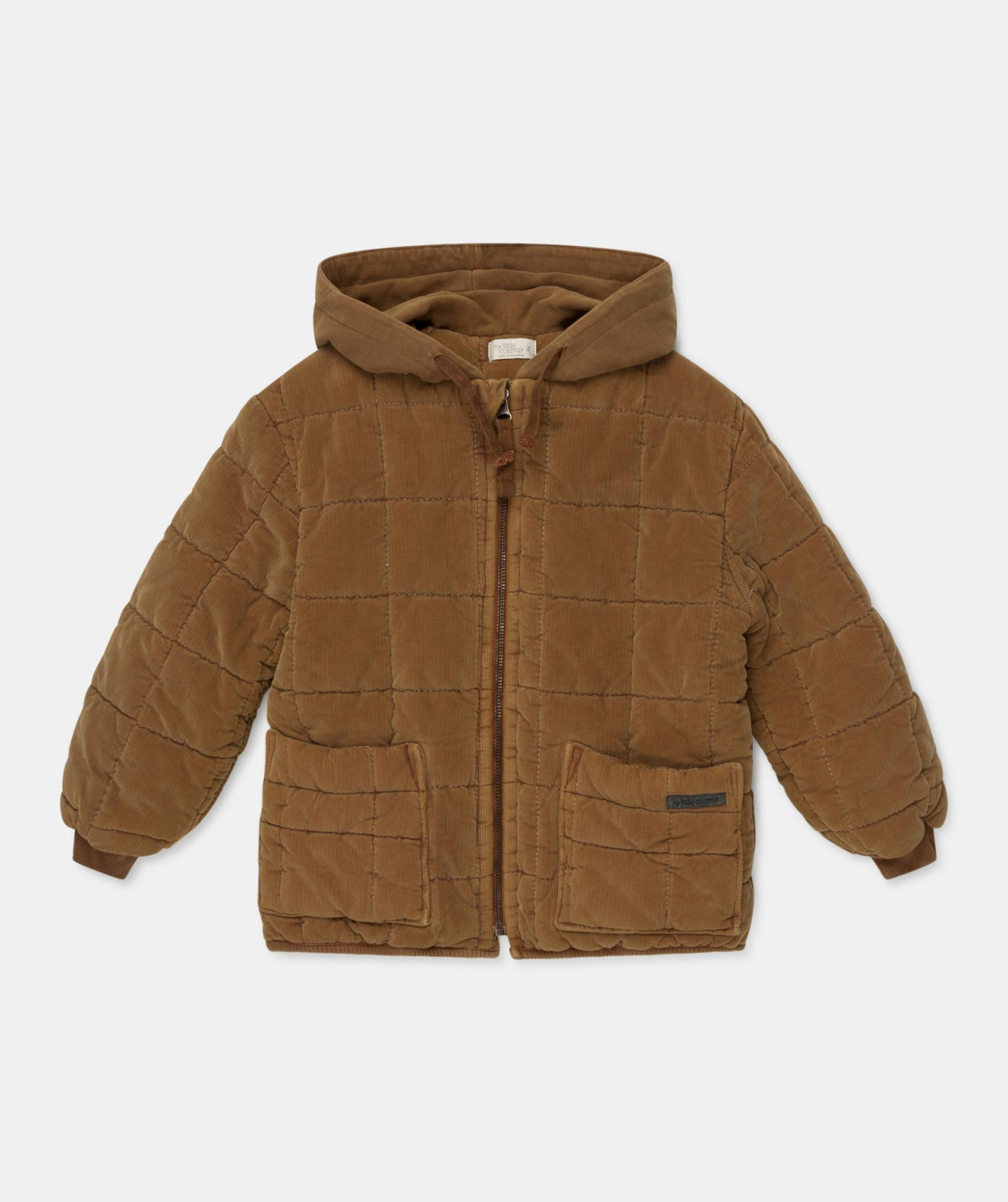 Corduroy padded coat caramel-2