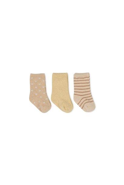Lurex socks macaroon/golden haze/dot - 3 pack