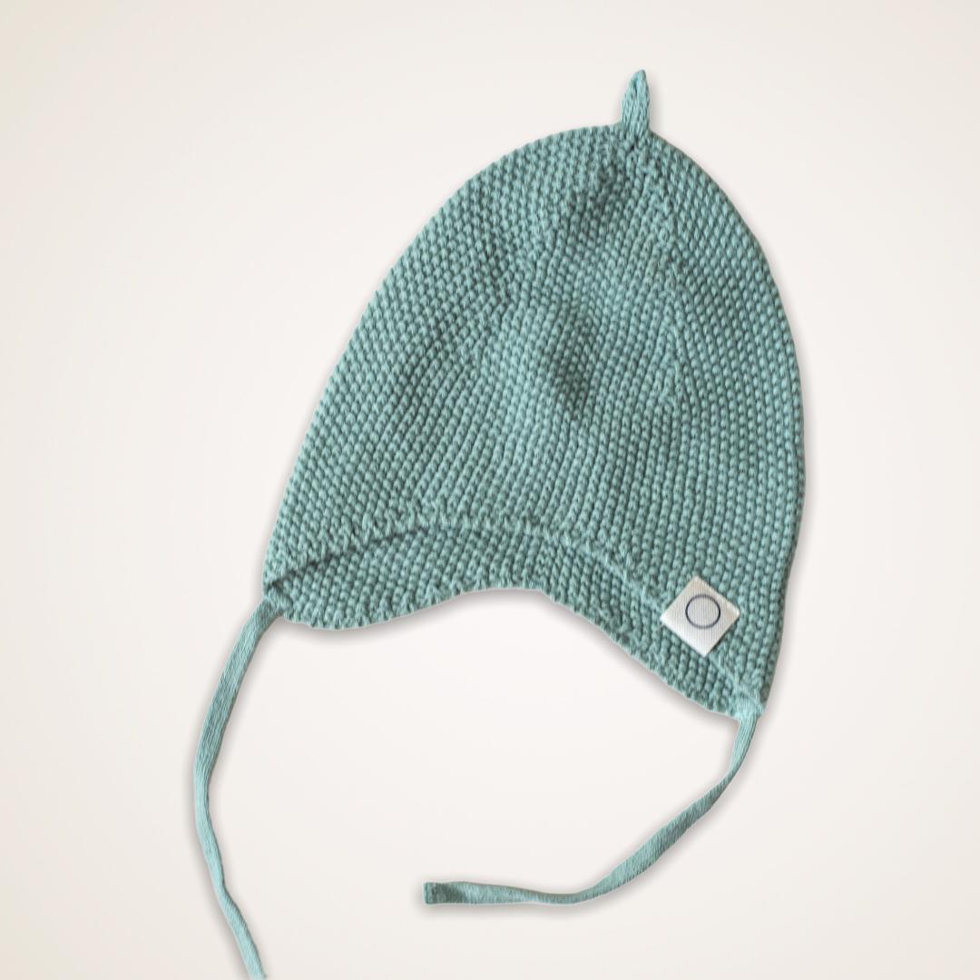 Knitted newborn mutsje groen-1