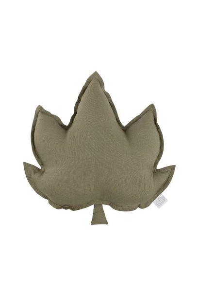 Linen leaf pillow olive