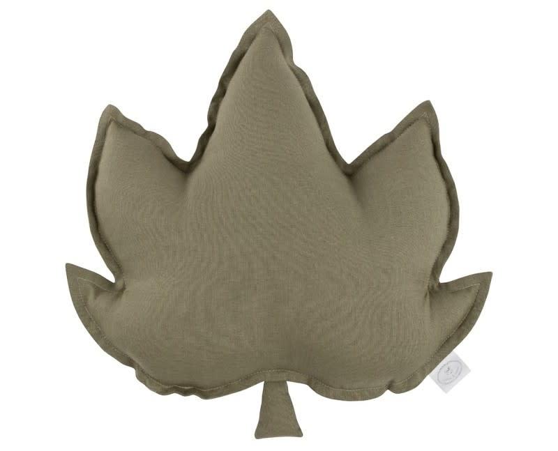 Linen leaf pillow olive-1