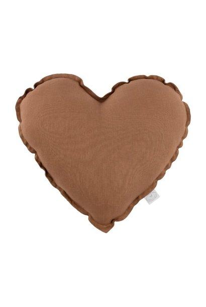 Linen heart pillow chocolate