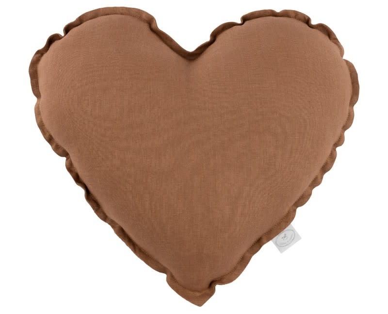 Linen heart pillow chocolate-1